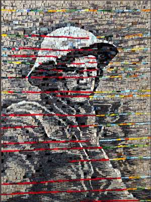 Shrapnel wall mosaic