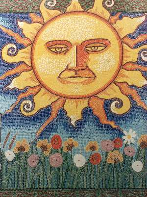 Sunburst wall mosaic