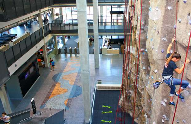 Woman on climbing wall overlooking river of life floor mosaic