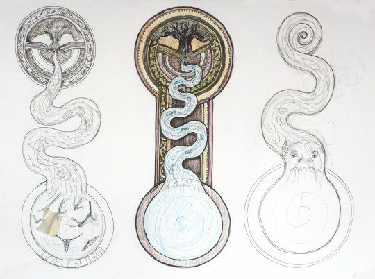 Initial sketches for River of Life mosaic