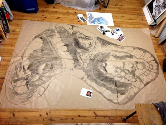 Seagull panel cartoon in the studio. Here you can see the original design and the full scale cartoon for the mosaic along with various reference photographs for the flora and fauna.