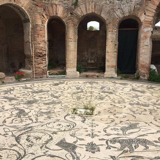 Roman mosaic floor in Ostia Antica