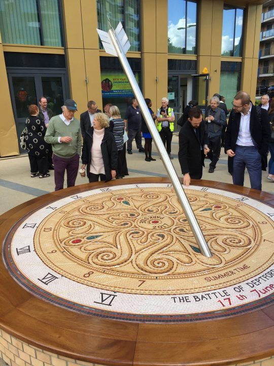 Unveiling the Deptford Bridge Memorial Sundial mosaic bench