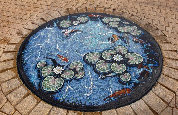 Lily pond floor mosaic