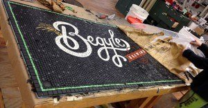 Begyles mosaic on bench