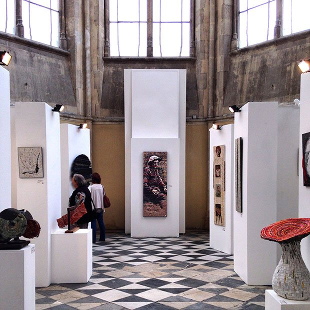 Image of gallery with shrapnel mosaic hanging