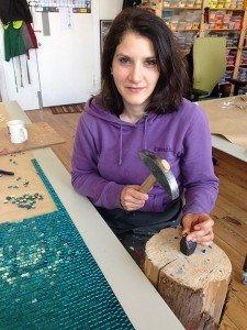 Giulia Vogrig cutting mosaics