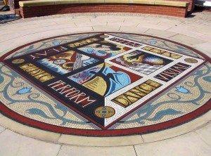 Arts arena floor mosaic