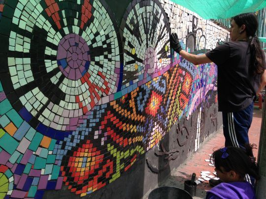 Working on the mosaic, Paraiso, Bogota
