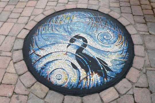 Herons reflection mosaic by Gary Drostle