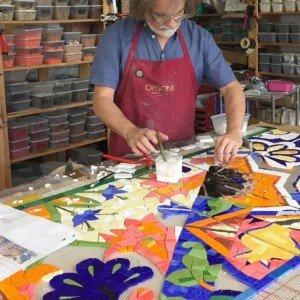 Artist Gary Drostle in the studio