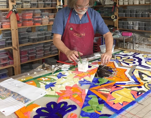 Artist Gary Drostle in the studio