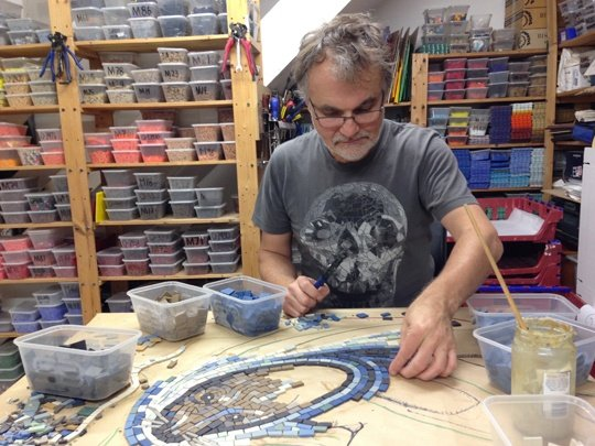 Gary begins work on the first mosaic panel