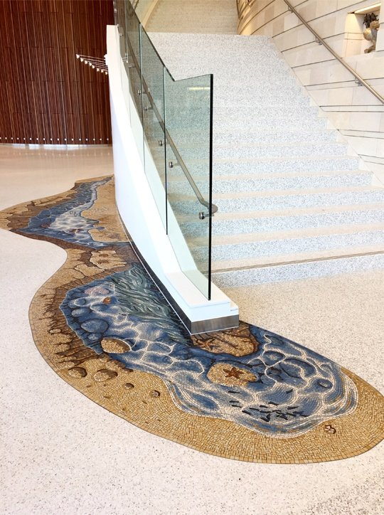 Stair wrap seashore tidepool mosaic