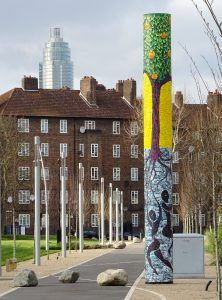 The Enduring Tangerine Tree mosaic sculpture by Gary Drostle