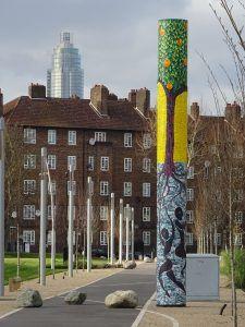 'The Enduring Tangerine Tree' - community history mosaic pilar
