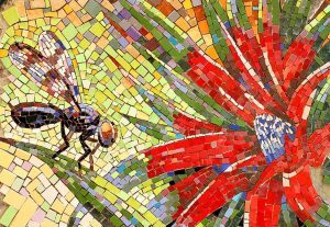Fly and flower mosaic