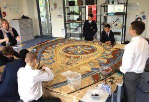 Haberdashers' Crayford Academy at work on their mosaic