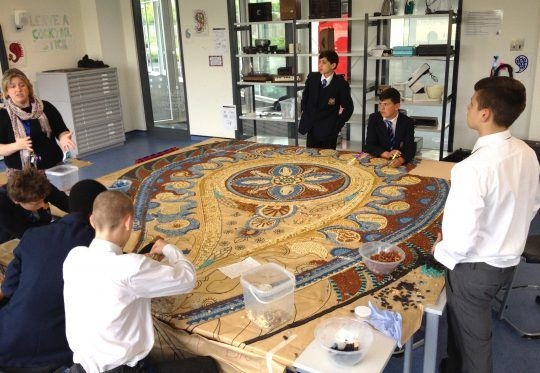 Haberdashers' Crayford Academy at work on their mosaic
