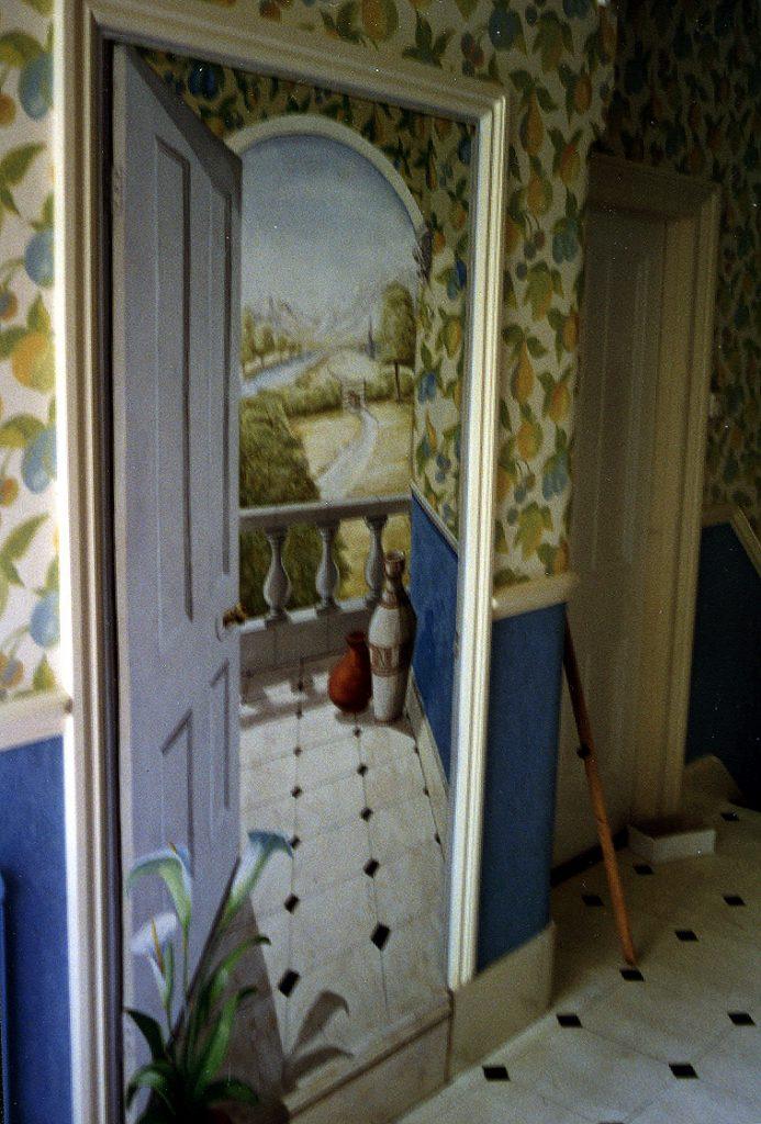 Trompe L'oeil doorway mural