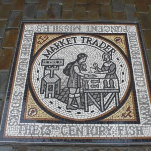 Medieval Trade Trail Mosaics, Market Trader – Gloucester