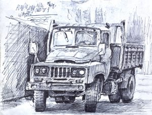 Truck ink drawing, Xian