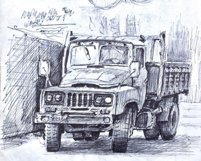 Truck ink drawing, Xian