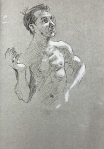 Thoughtful man - drawing by Gary Drostle