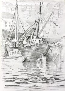 Brixham Harbour drawing by Gary Drostle