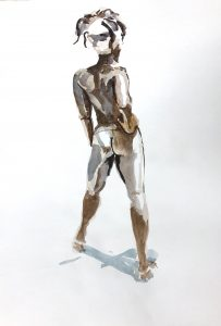 Life Drawing - Woman stance by Gary Drostle