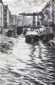 Amsterdam biro drawing by Gary Drostle