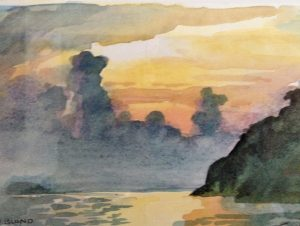 Sunset at Kampong Nipah watercolour sketch