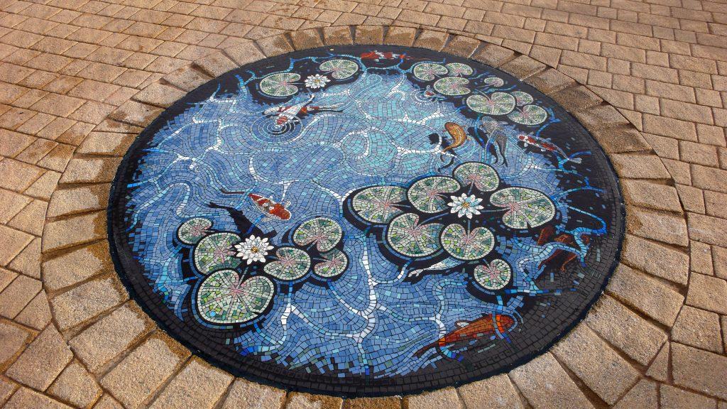 Carterton Lily pond mosaic by Gary Drostle