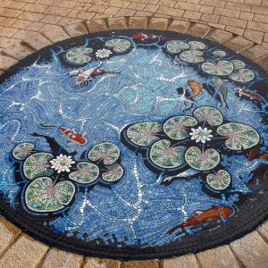 Carterton Lily pond mosaic by Gary Drostle