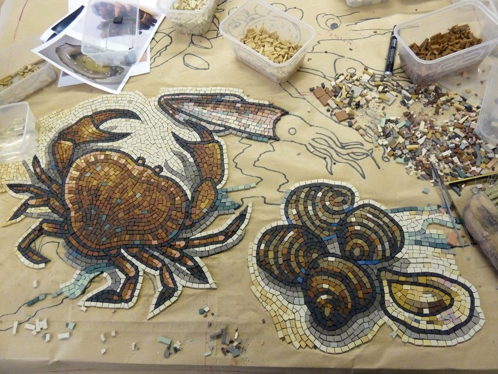 Crab mosaic under construction