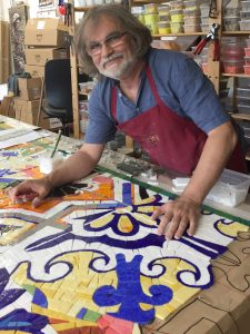 Artist Gary Drostle in his studio