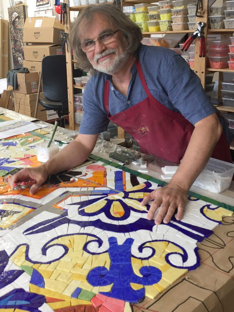 Artist Gary Drostle in his studio