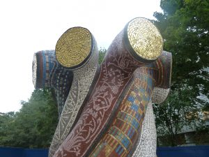 Entwined Histories mosaic sculpture top detail