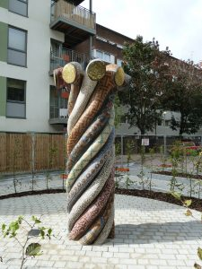 Entwined Histories mosaic sculpture view