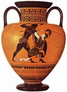 Achilles slays Penthesilea amphora