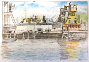 Sketch of Woolwich Ferry by Gary Drostle