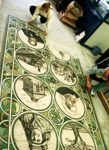 Laying out Chingford Heritage Mosaic