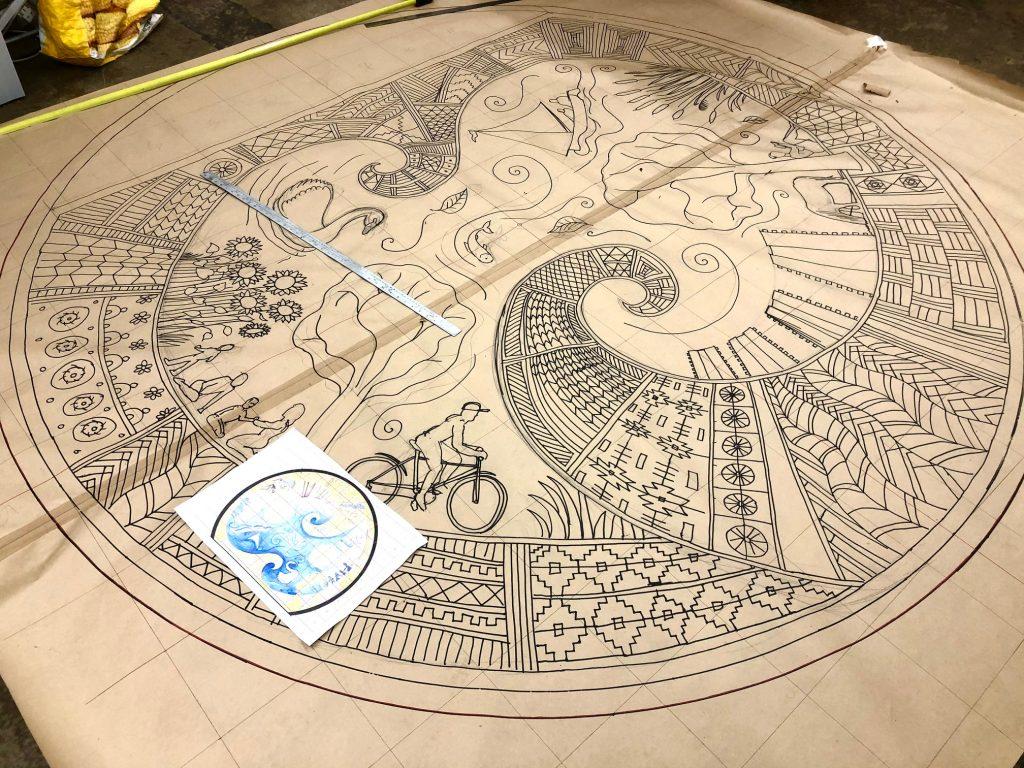 Thamesmead mosaic cartoon drawing