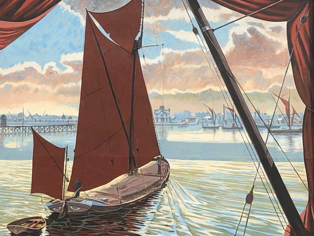 Erith Thames Barge mural detail